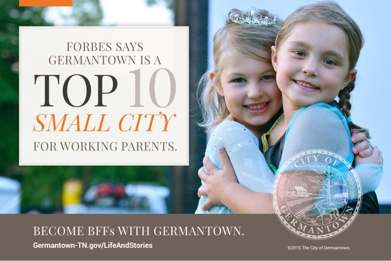 Germantown was named a top 10 small cities for working families by Forbes
