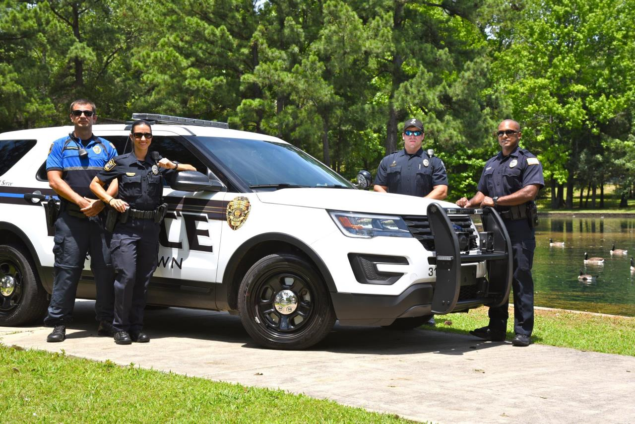 Close up New Police Officers at Municipal Lake