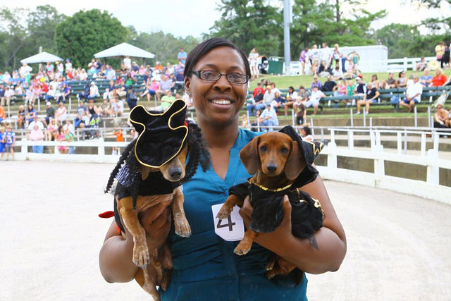 woman holding two Dachshunds dressed as pirates
