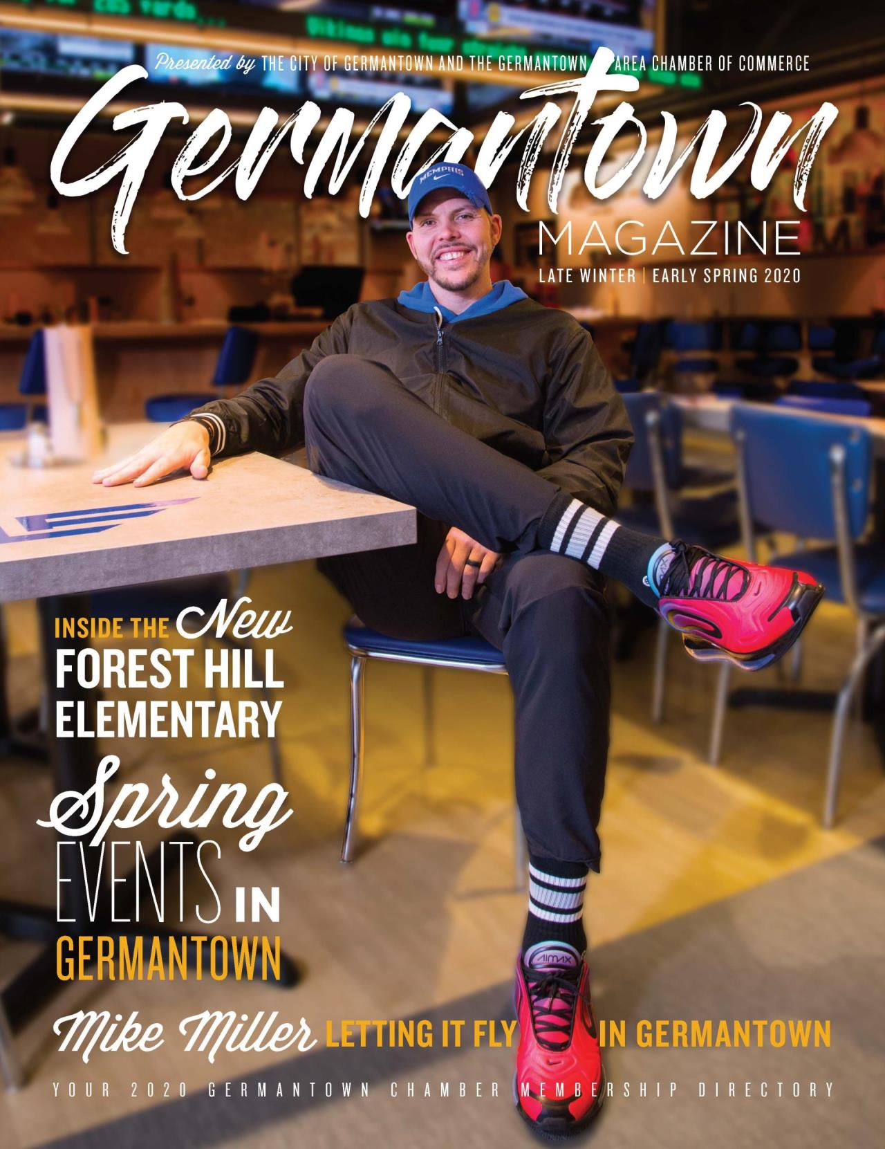 "Germantown Magazine Winter Spring 2020 magazine cover featuring Mike Miller. Featured stories include ""Inside the New Forest Hill Elementary, Spring Events in Germantown and Mike Miller Letting it Fly in Germantown."""